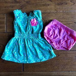 Carter's 3 mo green flowered dress set